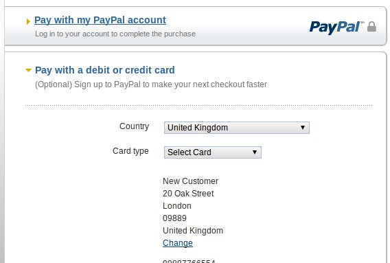 Pay with paypal or with credit card